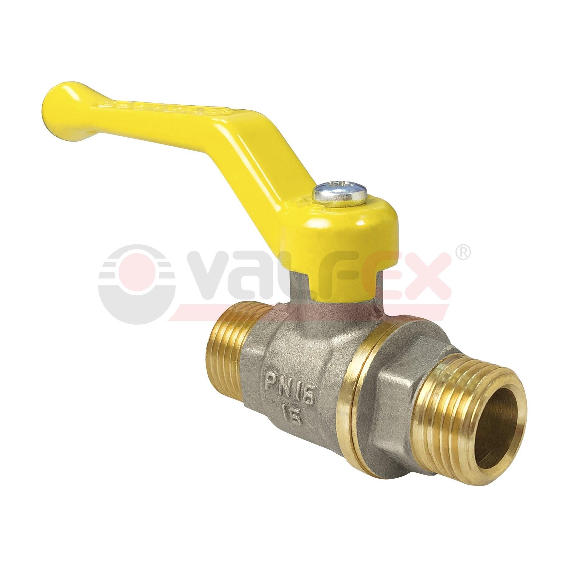 Кран шаровой для газа полнопроходной VALFEX ручка рычаг резьба наружная-наружная