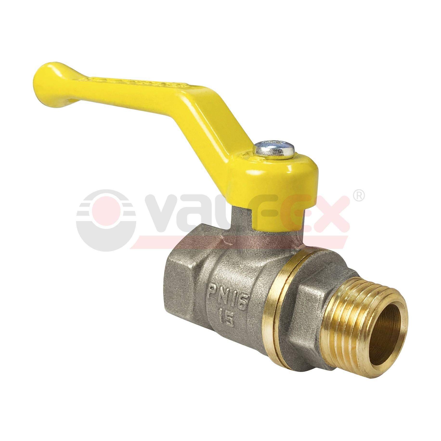 Кран шаровой для газа полнопроходной VALFEX ручка рычаг резьба внутренняя-наружная