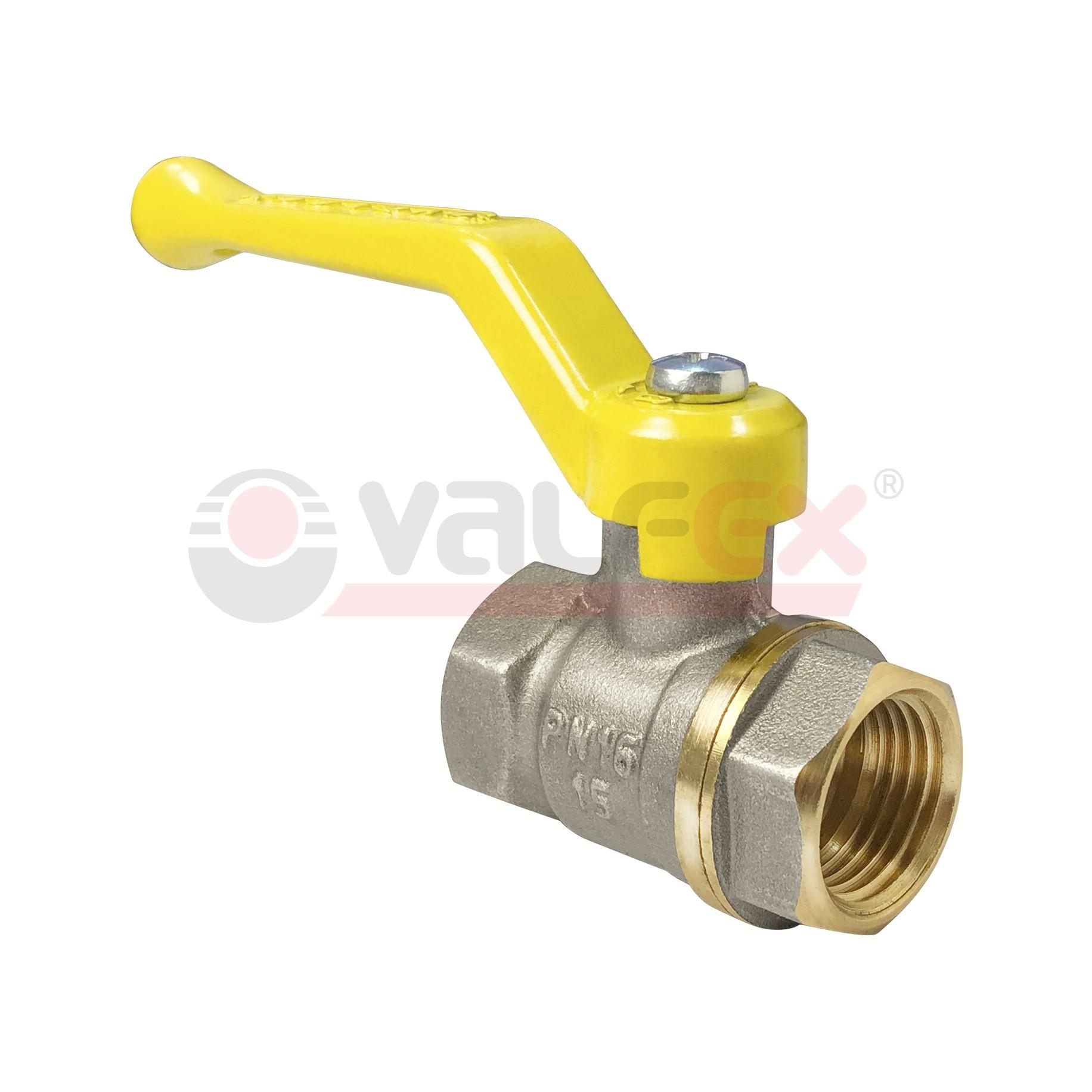Кран шаровой для газа полнопроходной VALFEX ручка рычаг резьба внутренняя-внутренняя